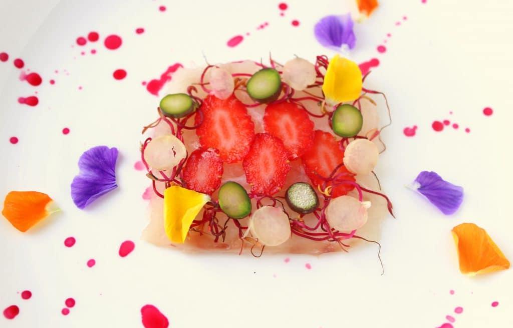 carpaccio ombrina e fragole